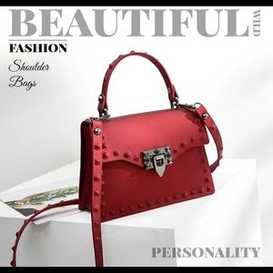 🔥Hot🔥Red jelly handbag with stud detailing